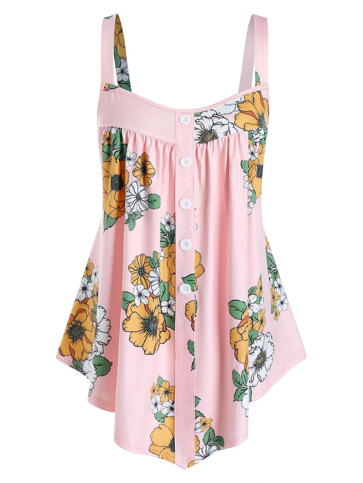 Chic Plus Size Flower Print Backless Buttoned Tunic Tank Top
