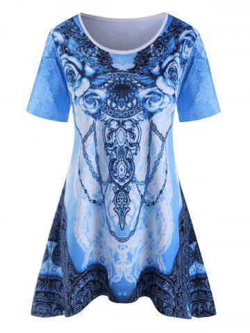 Plus Size Full Printed Tee - BLUE IVY - 2X
