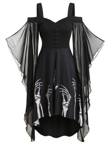 Skeleton Print Butterfly Sleeve Lace-up High Low Dress