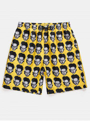 Figure Head Pattern Elastic Waist Shorts