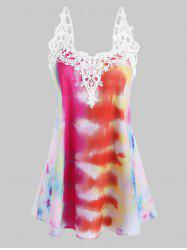 Tie Dye Crochet Lace Panel Cami Top -