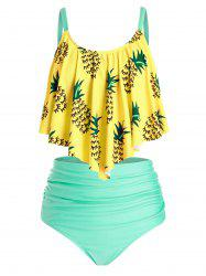 Plus Size Pineapple Ruched Flounce High Waisted Tankini Swimwear -