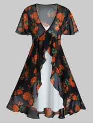 Plus Size Flower Flounce See Thru Blouse and Cami Dress Set -