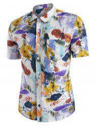 Flower Ink Painting Print Button Down Shirt -