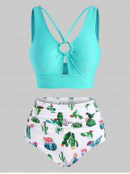Cactus Print Ring Strappy Ruched Tankini Swimwear -