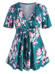 Floral Tie Front Surplice Skirted Plus Size Top -