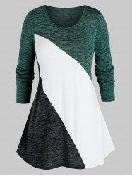 Plus Size Space Dye Color Blocking Tunic Tee -
