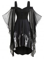 Skeleton Print Butterfly Sleeve Lace-up High Low Dress -