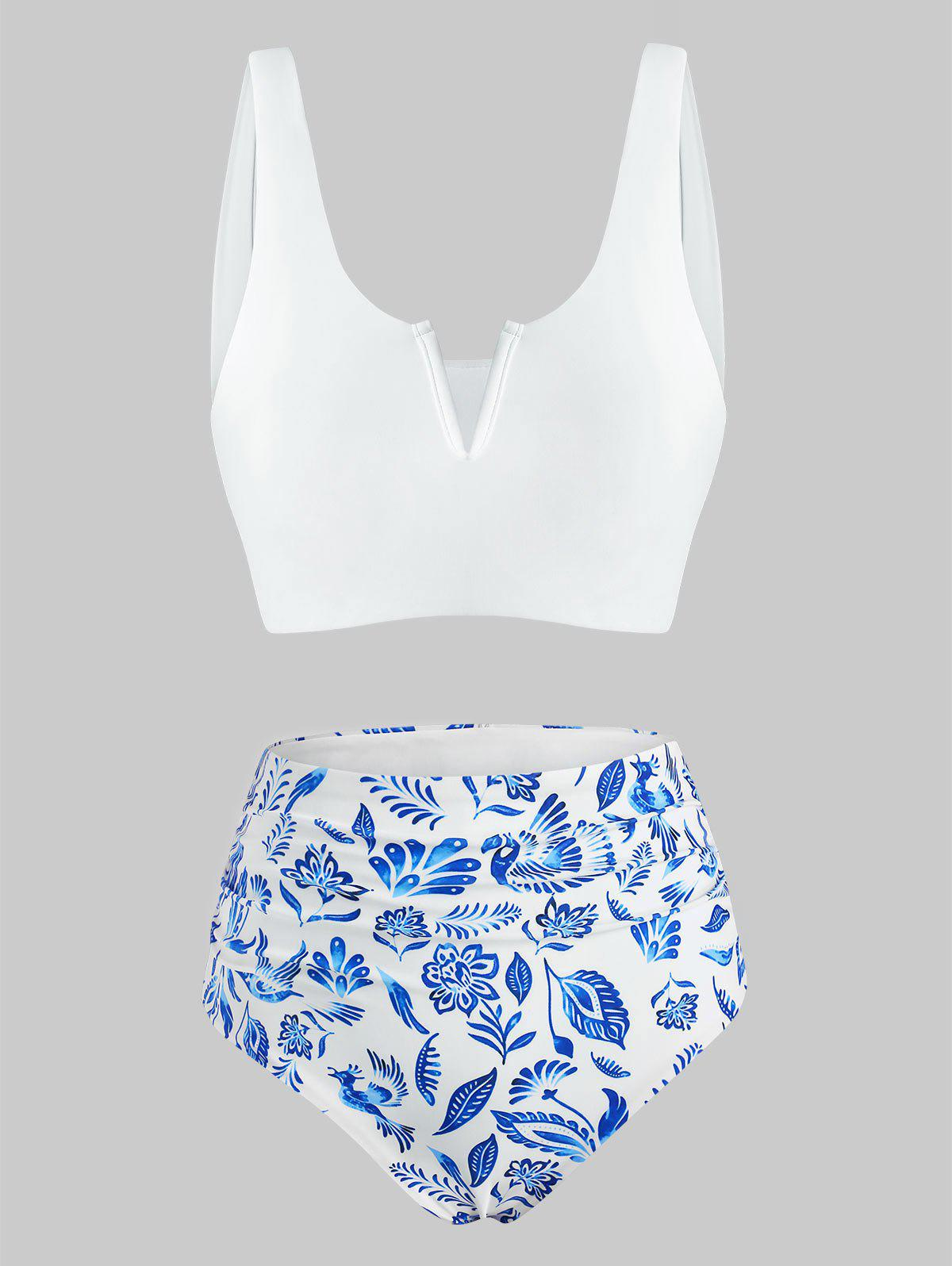 Latest Blue And White Printed V-wired High Waisted Tankini Swimwear