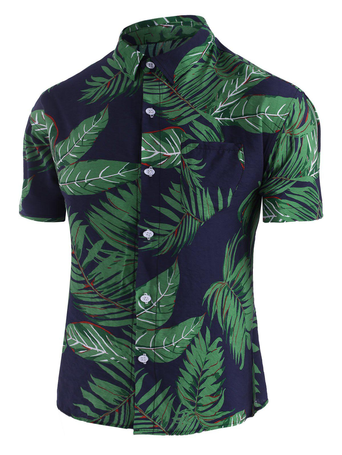 Fancy Leaf Print Pocket Beach Shirt