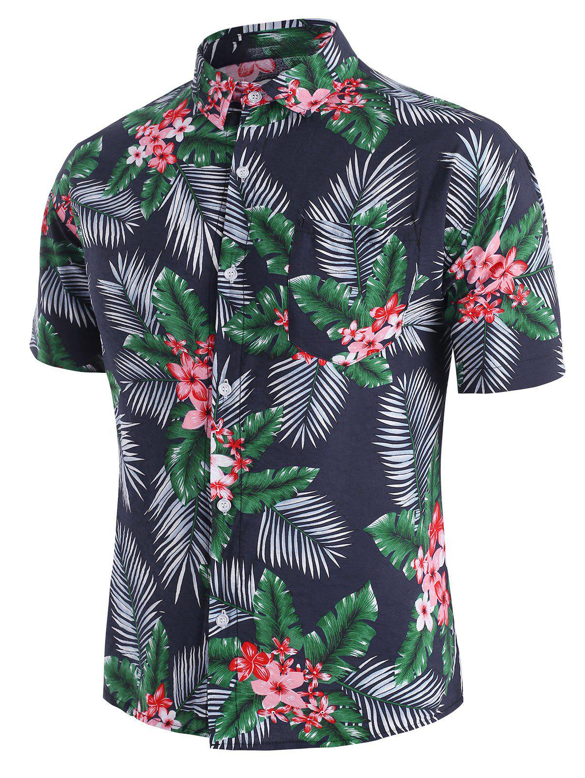 Chic Tropical Flower Leaf Beach Shirt