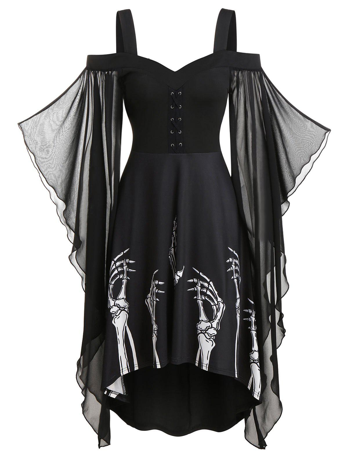 Skeleton Print Butterfly Sleeve Lace-up High Low Dress фото