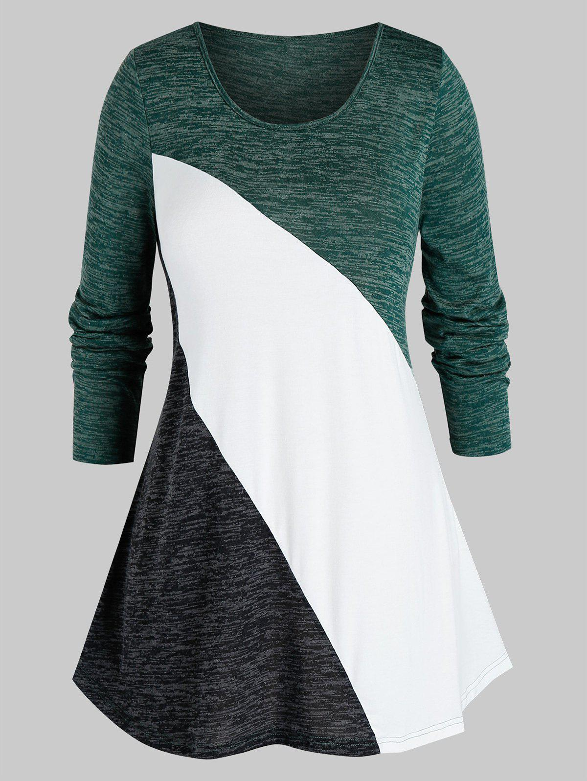 Outfits Plus Size Space Dye Color Blocking Tunic Tee