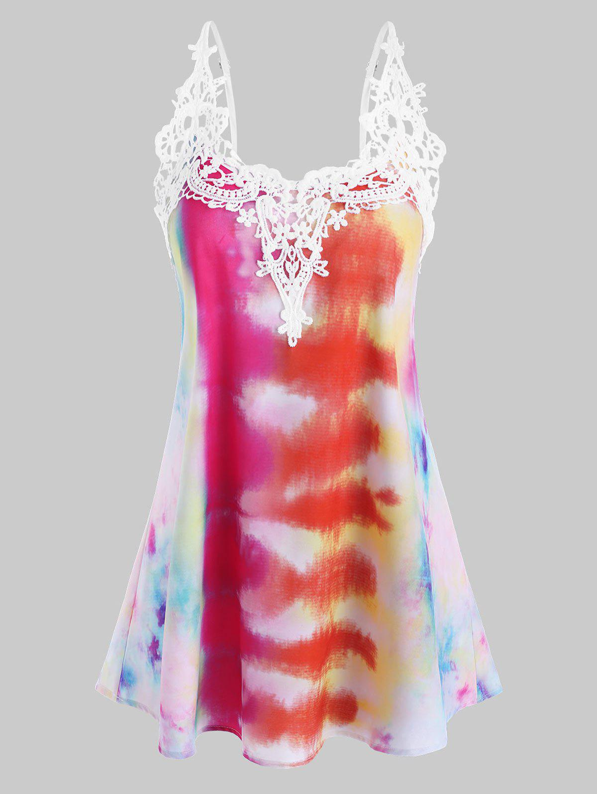 Shop Tie Dye Crochet Lace Panel Cami Top
