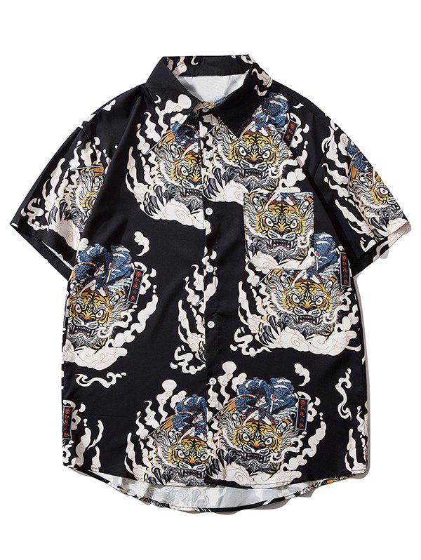 Hot Geisha Samurai Tiger Print Pocket Shirt