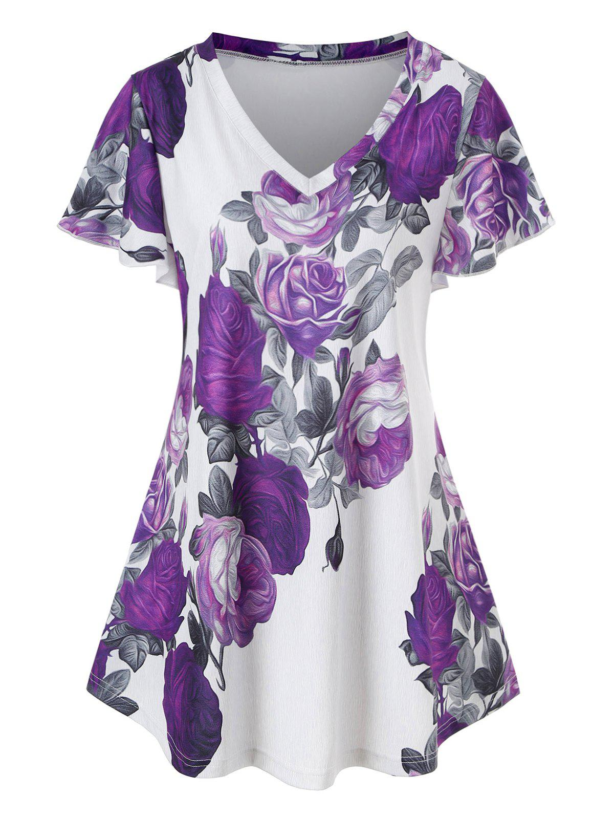 Outfits Plus Size Floral Print Swing T Shirt