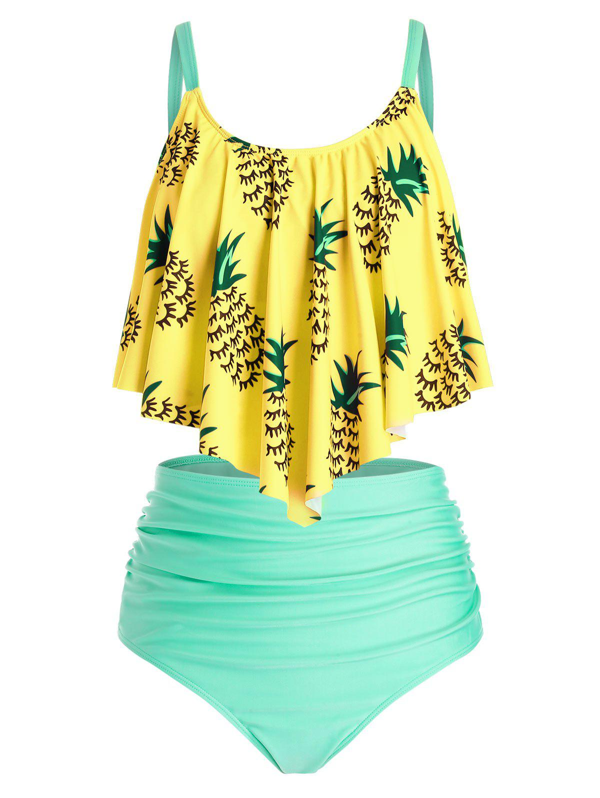 Hot Plus Size Pineapple Ruched Flounce High Waisted Tankini Swimwear