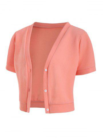 Plus Size Front Button Crop Tee - LIGHT PINK - 5X