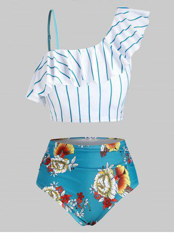 Plus Size Striped Floral Skew Neck Ruffled Tankini Swimwear - BLUE IVY - L