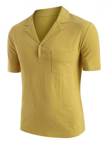 Solid Color Chest Pocket T-shirt - YELLOW - L