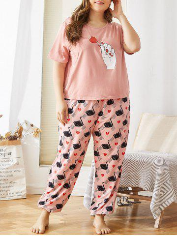 Plus Size Heart Print Jogger Pajama Pants Set - LIGHT PINK - 3XL