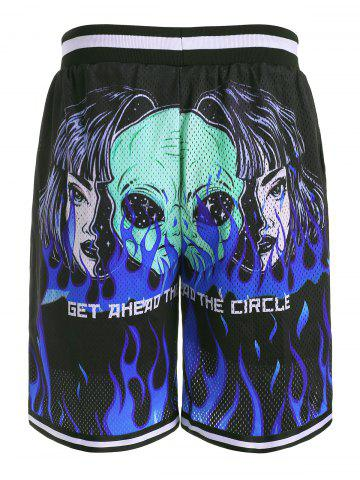 Shorts de Cordones con Estampado de Flama - BLACK - 3XL
