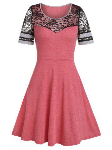 Lace Panel A Line Round Neck Dress