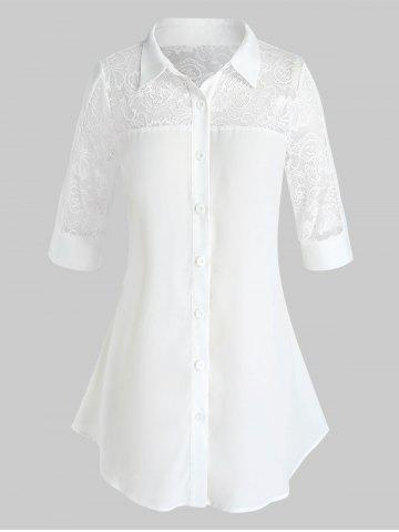 Plus Size Yoke Lace See Thru Button Up Tunic Blouse