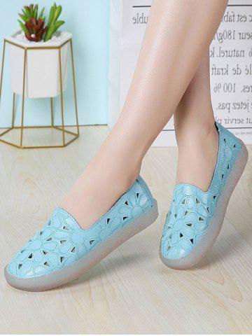 Floral Embroidery Hollow Out Flat Shoes - BLUE - EU 39