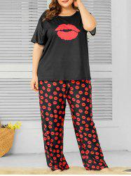 Plus Size Lips Print Pajama Set -