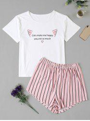 Plus Size Cat Striped Letter Graphic Pajama Shorts Set -