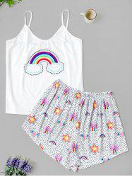 Plus Size Cami Rainbow Print Pajama Shorts Set -