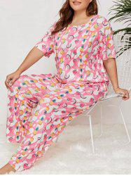 Tropical Pineapple Coconut Print Plus Size Pajama Set -