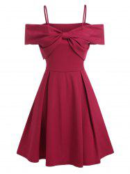 Cold Shoulder Bowknot A Line Party Dress -