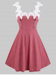 Sleeveless Lace Insert Mock Button Heathered Dress -