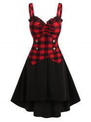 Plaid Drawstring Button Fit And Flare Dress -