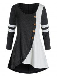 Plus Size Contrast Two Tone Long Sleeve Tunic Tee -