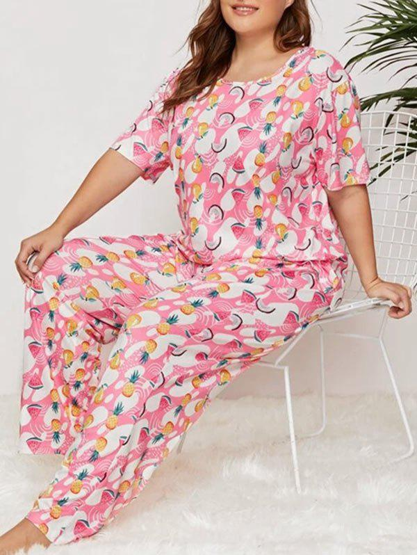 Best Tropical Pineapple Coconut Print Plus Size Pajama Set