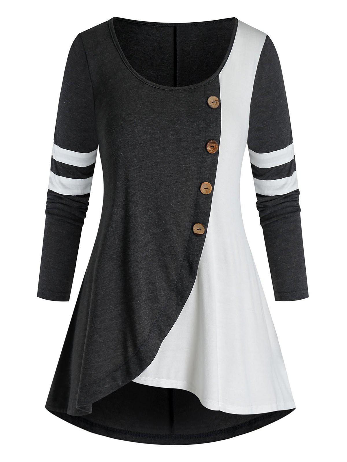 Shops Plus Size Contrast Two Tone Long Sleeve Tunic Tee