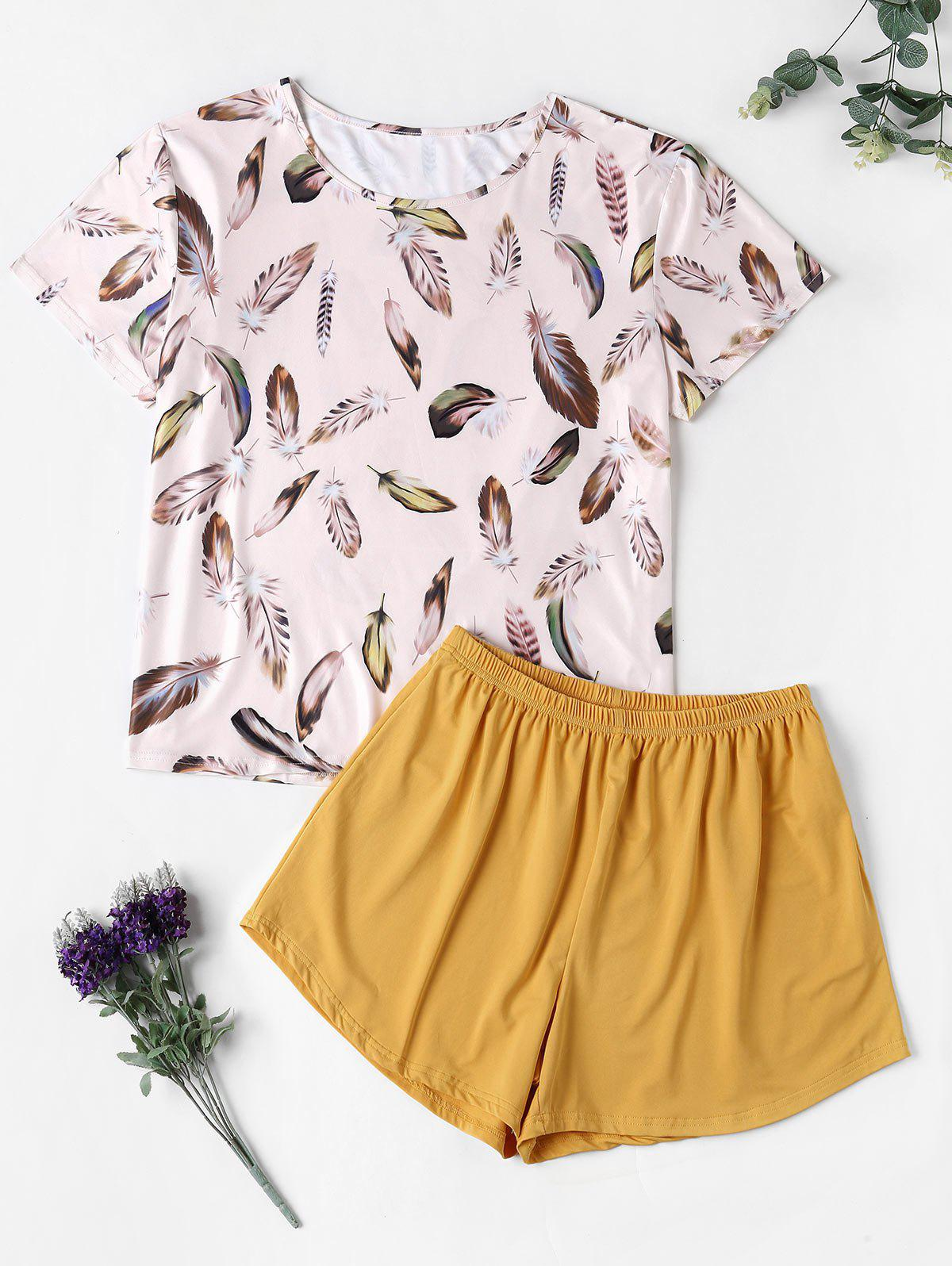 Outfit Lounge Feather Print Two Piece Plus Size Pajama Set