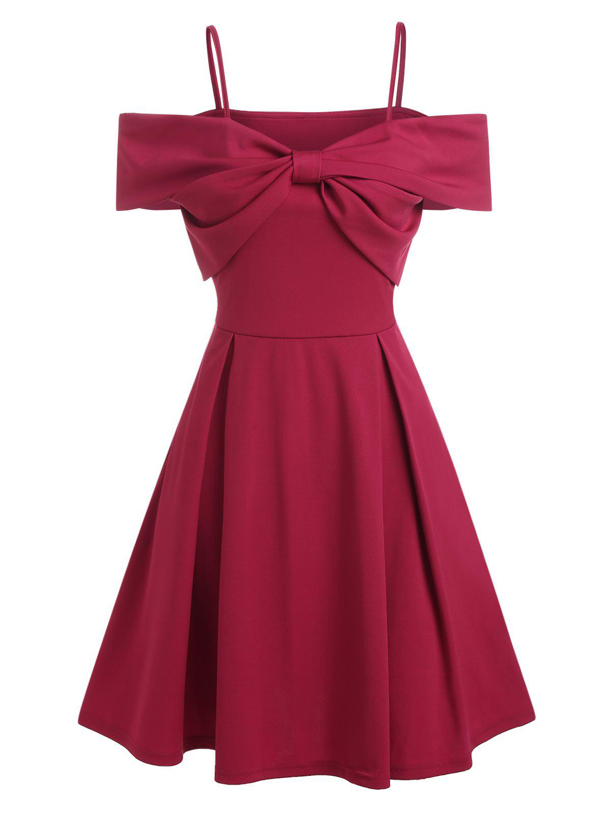 Discount Cold Shoulder Bowknot A Line Party Dress