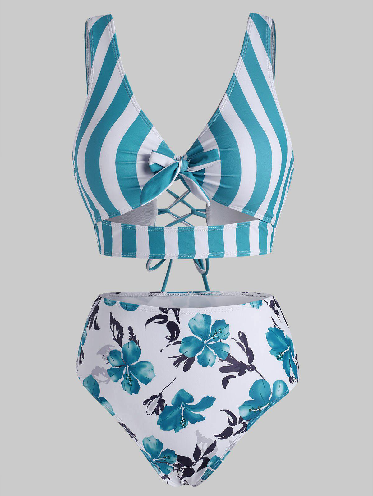 Latest Striped Floral Cutout Lace-up Knot Tankini Swimwear