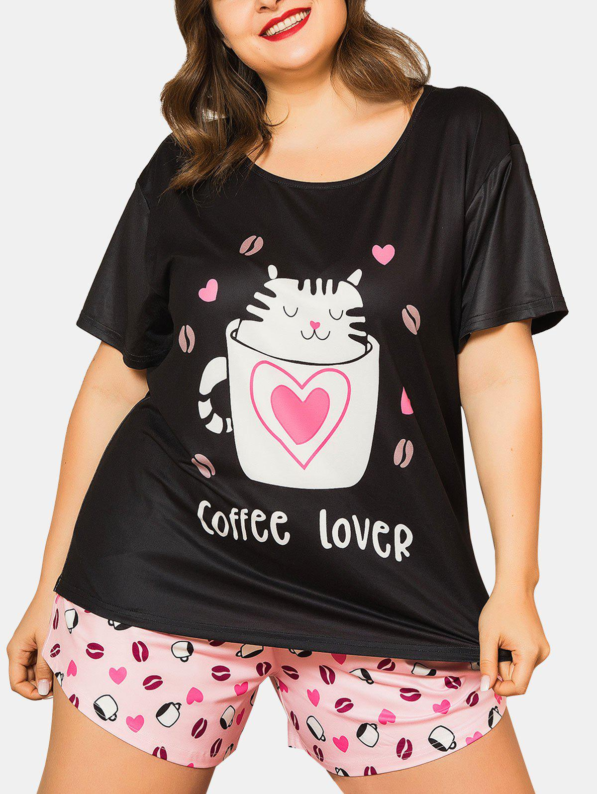 Affordable Funny Heart Cat Cup Print Plus Size Pajama Set