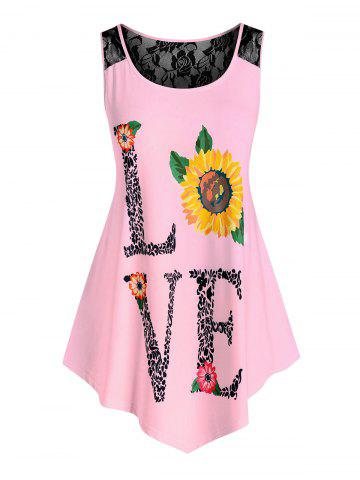 Plus Size Lace Insert Love Sunflower Print Tank Top - LIGHT PINK - L