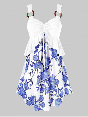 Plus Size Flower Cinched Tie Flounce Peplum Tunic Tank Top - WHITE - 2X