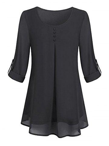 Plus Size Lined Roll Up Sleeve Blouse - BLACK - 2X