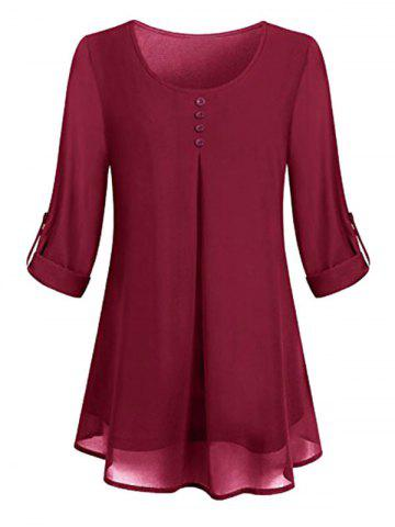 Plus Size Lined Roll Up Sleeve Blouse - DEEP RED - 3X