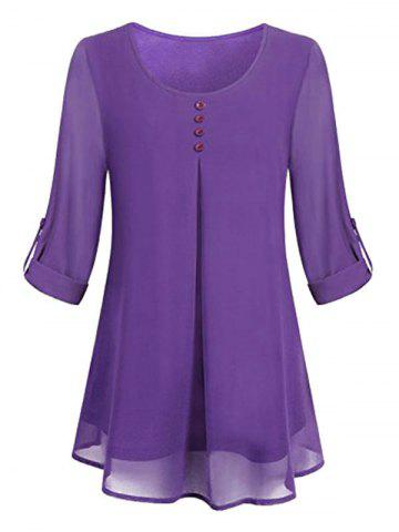 Plus Size Lined Roll Up Sleeve Blouse