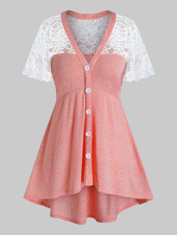 Plus Size Lace Panel See Thru Flutter Sleeve Tunic Tee - PINK - L