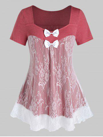 Plus Size Lace Panel Bowknot See Thru Short Sleeve Tee - VALENTINE RED - 4X
